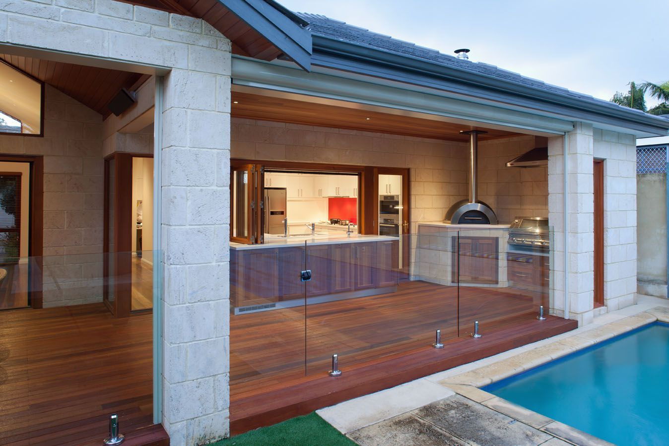 Outdoor Stunning Semi Outdoor Kitchen Design With Wooden Cabinets ...