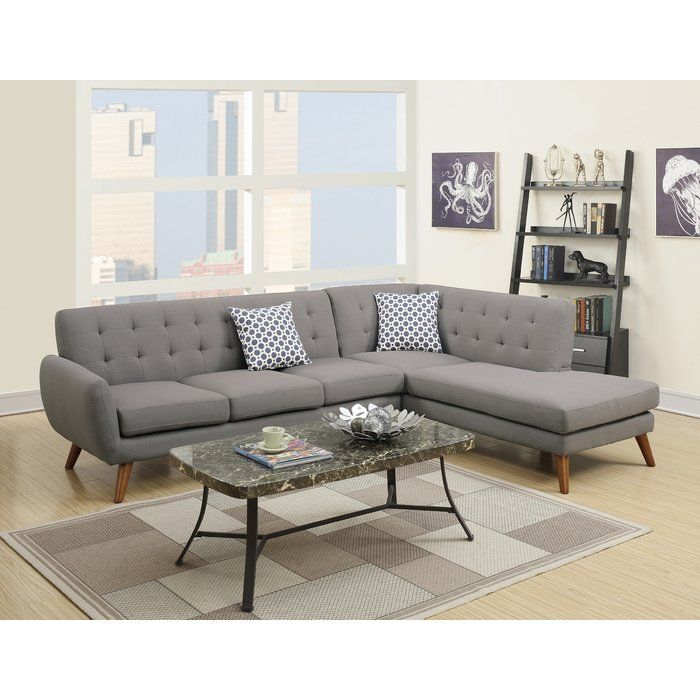 Bobkona Belinda Chaise Sectional Reviews Allmodern With Images Modern Sofa Sectional Grey Sectional Sofa Mid Century Modern Sectional Sofa