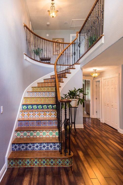 Best Colorful Stair Facing Tile Pattern Stairs Design Modern 400 x 300