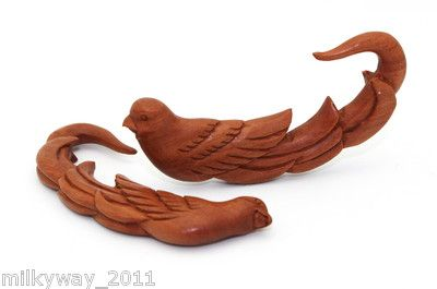 Sawo Wood Bird Hangers Ear Gauges