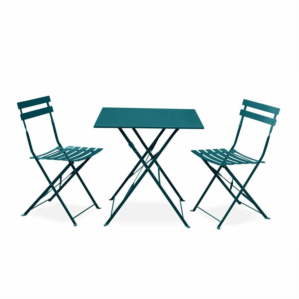 Salon De Jardin Design Pliable Salon De Jardin Bistrot Pliable Emilia Carré Bleu Canard Table