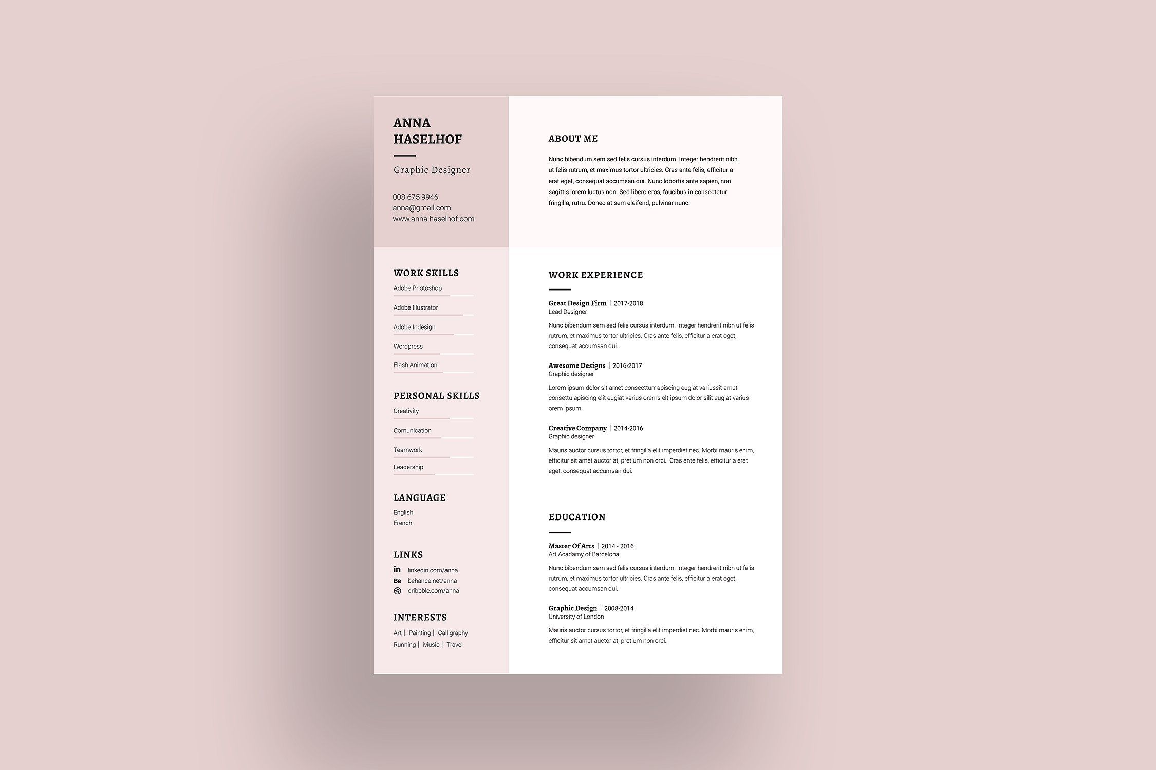 Elegant Resume Template aipsdpdfIncluded Templates