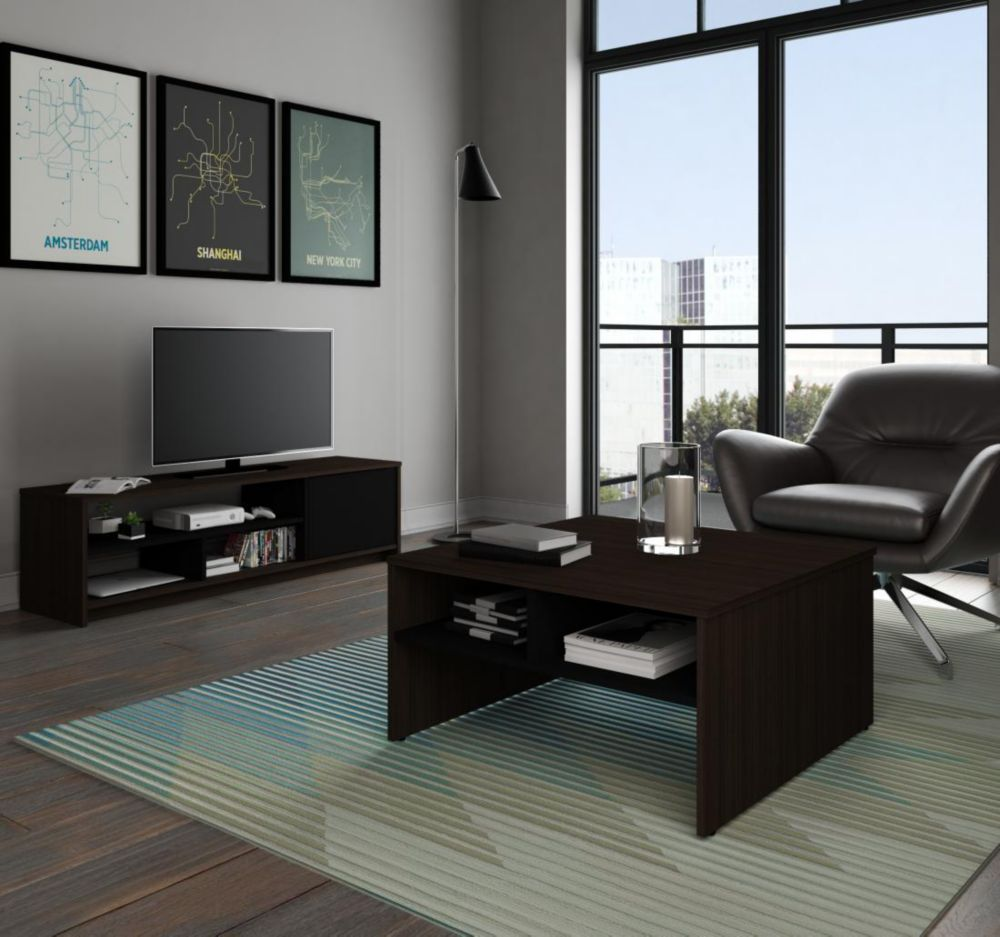 Small Space 2 Piece Storage Coffee Table And Tv Stand Set Dark Chocolate Black Coffee Table With Storage Small Spaces Tv Stand Set