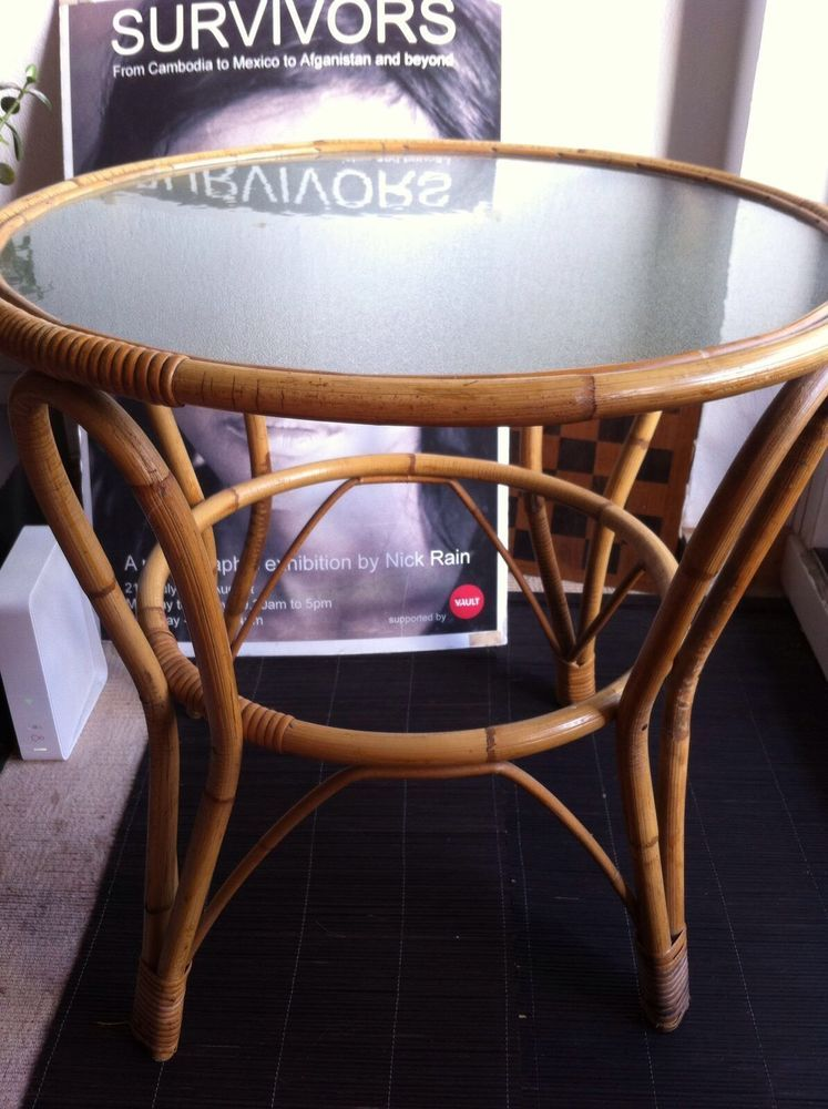 GREAT Vintage Coffee Bamboo Cane Cool 70u0027S ROUND RETRO TABLE #Unbranded