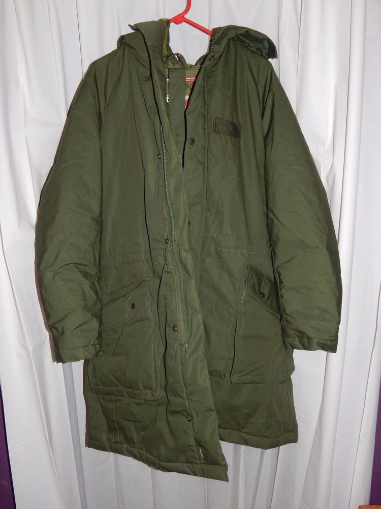 new arrival 56c75 cea96 Swedish military field parka m90 with hood - large olive ...