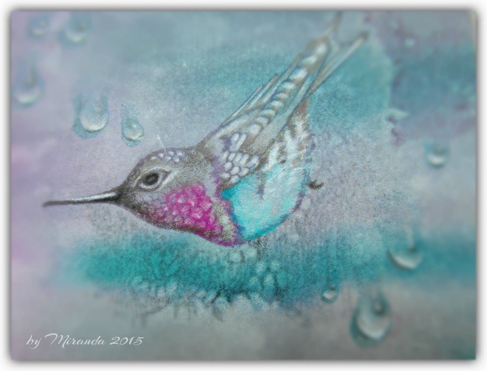 'Mir'acle Art Inspirations: Hummingbird on lace....... Using Designs by Ryn: Perching Hummingbird, Hanging Droplet Set, Flower Lace 1 and Flower Lace 2