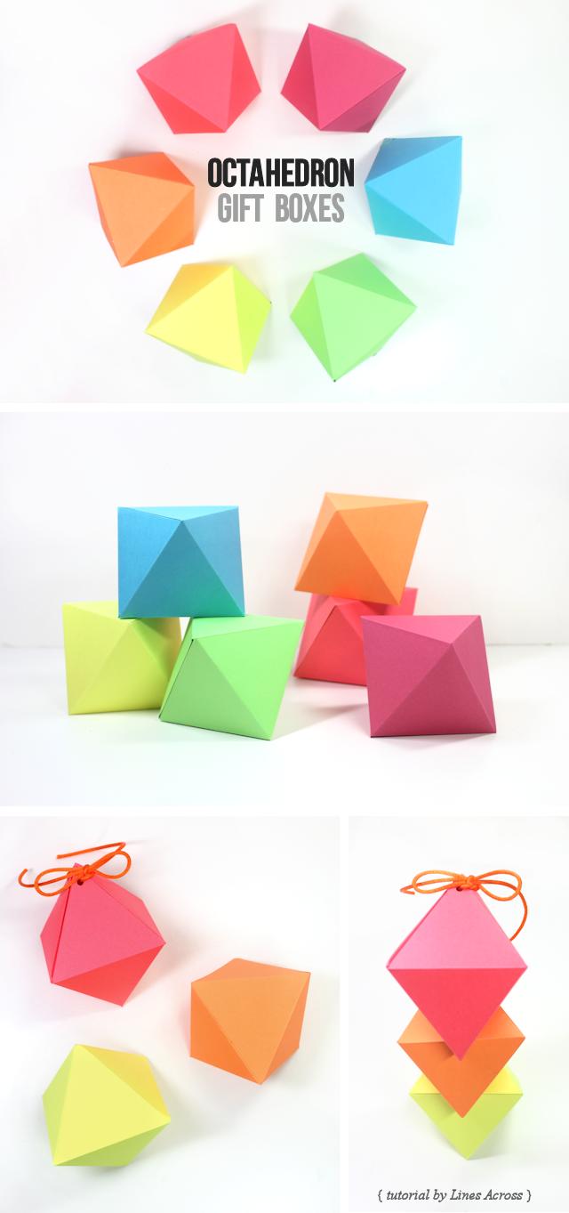 DIY: diamond gift boxes (free printable octahedron templates ...