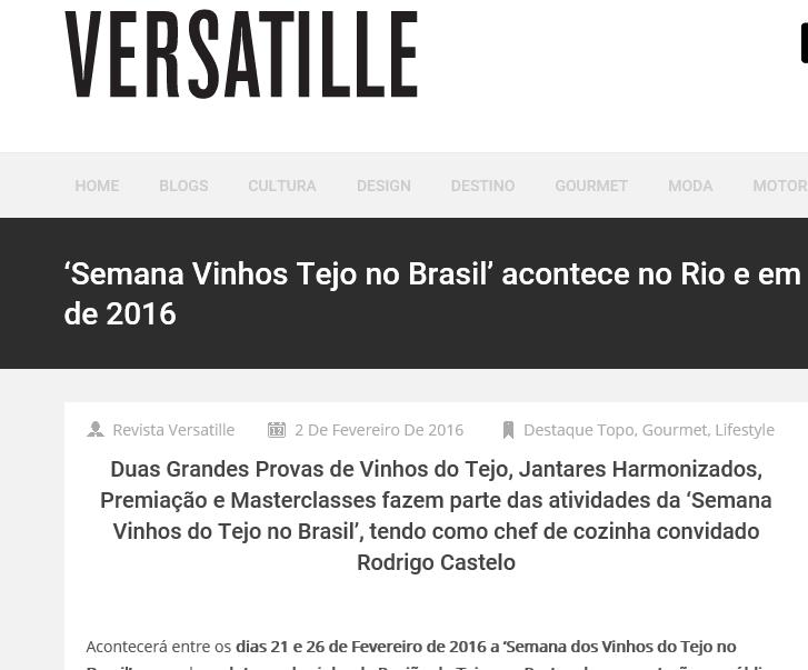 #cvrtejo #winesoftejo #vinhosdotejo CVR TEJO com Semana de Vinhos do Tejo no Brasil   Site da Revista Versatille   Marco Merguizzo   Fevereiro de 2016.