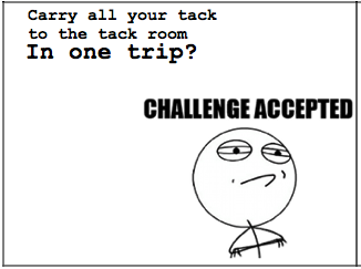 Carry All Your Tack To The Tack Room In One Trip Challenge Accepted Equestrian Horse Quotes Funny Horses Equestrian Quotes