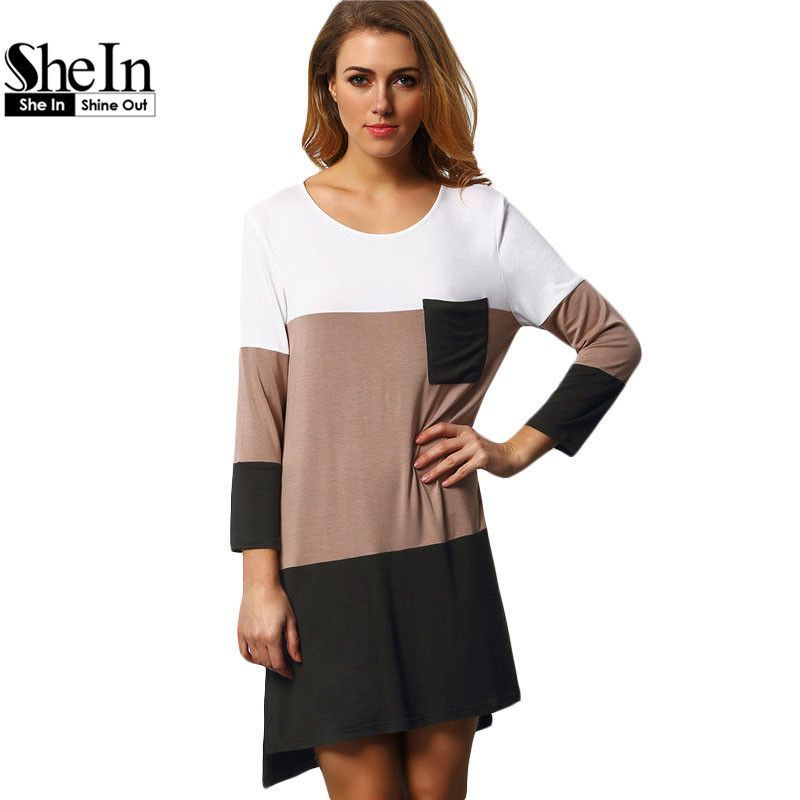 98590443efed2 Ladies Dresses Summer T-shirt Dress Loose Casual Womens Black White Color  Block Pockets Mini Straight Dress