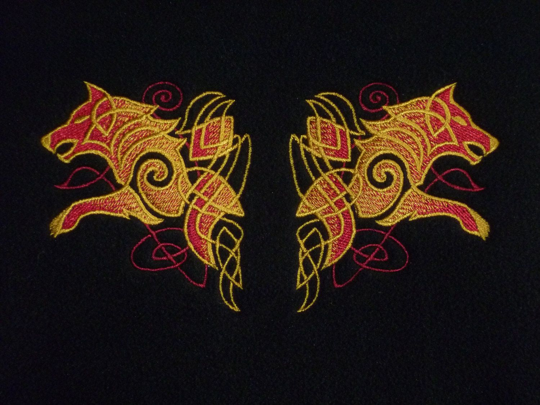 Odin Viking gods Coat 3 in 1. Odin's wolves Geri & Freki Thor's Hammer Mjolnir Embroidered designs. Waterproof. Celtic Knotwork Heathen. nHGdv
