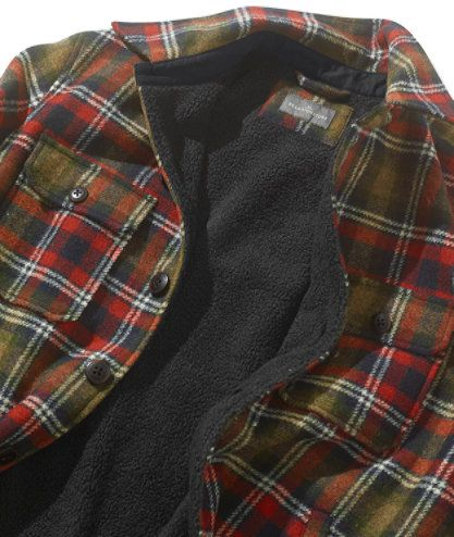 Men's Signature Lined Wool-Blend Shirt Jacket, Slim Fit Plaid at ...