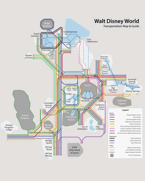 A map of all the Disney World Transportation options. Bus, Monorail ...