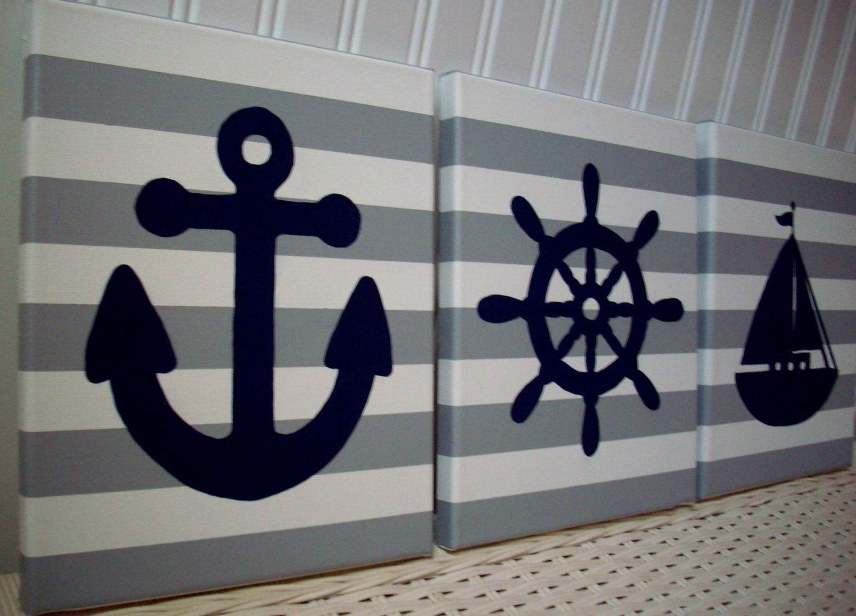 Nautical Nursery Wall Decor Nursery Paintings, Sailboat Anchor ...