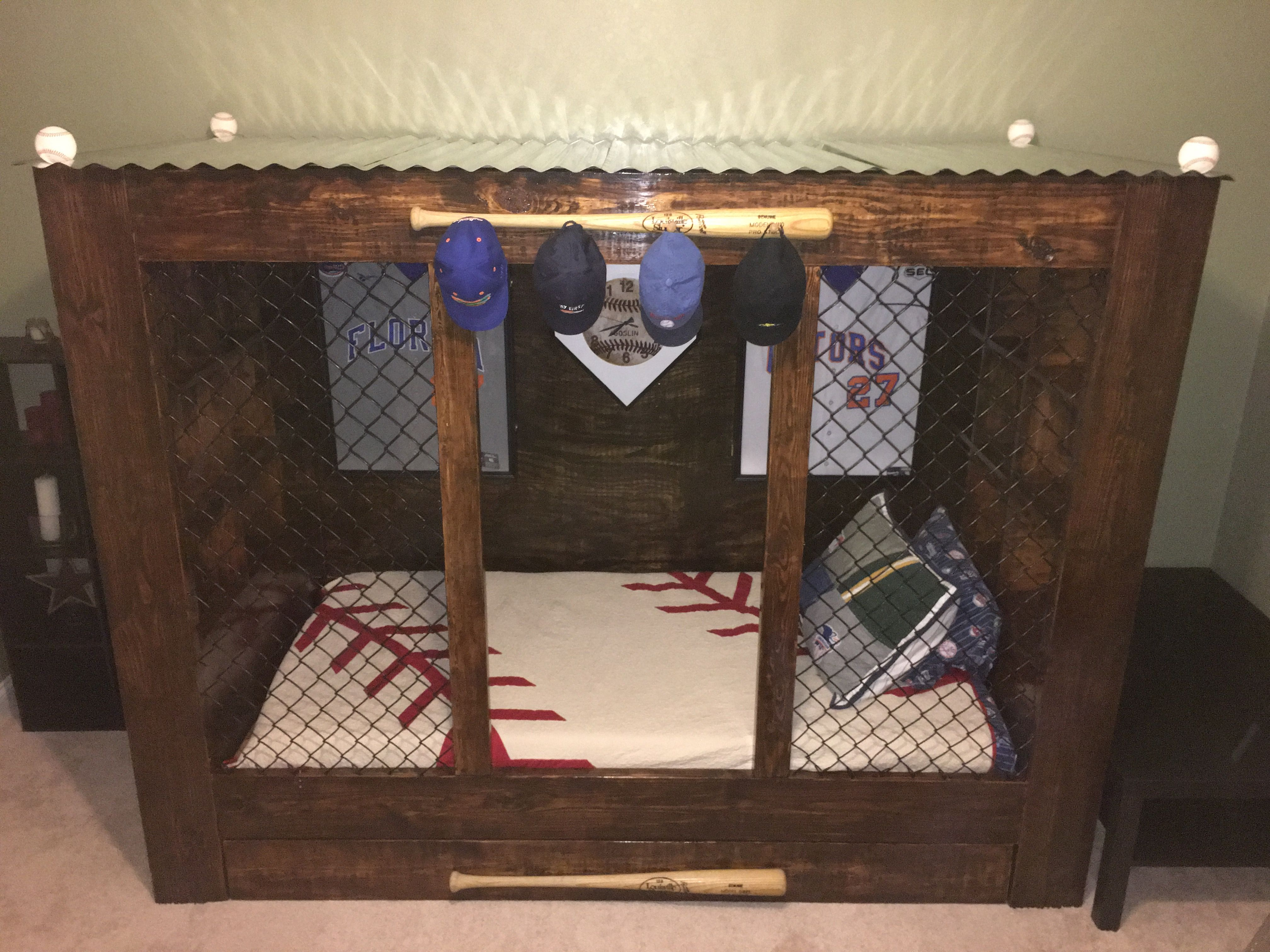 Baseball Themed Bedrooms Baseball Dugout Bed That Easton S Daddy Made For Him