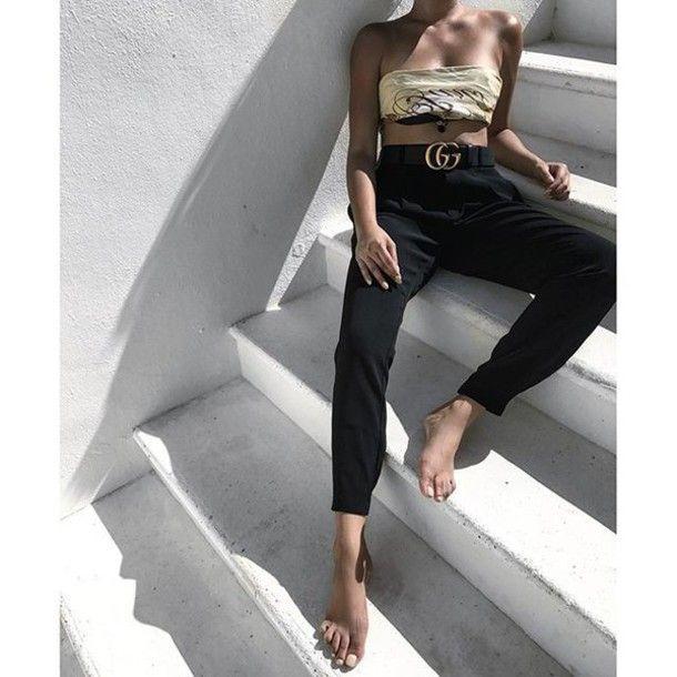 Pants: tumblr cropped black tube top gucci gucci belt belt logo belt  bandeau summer outfits