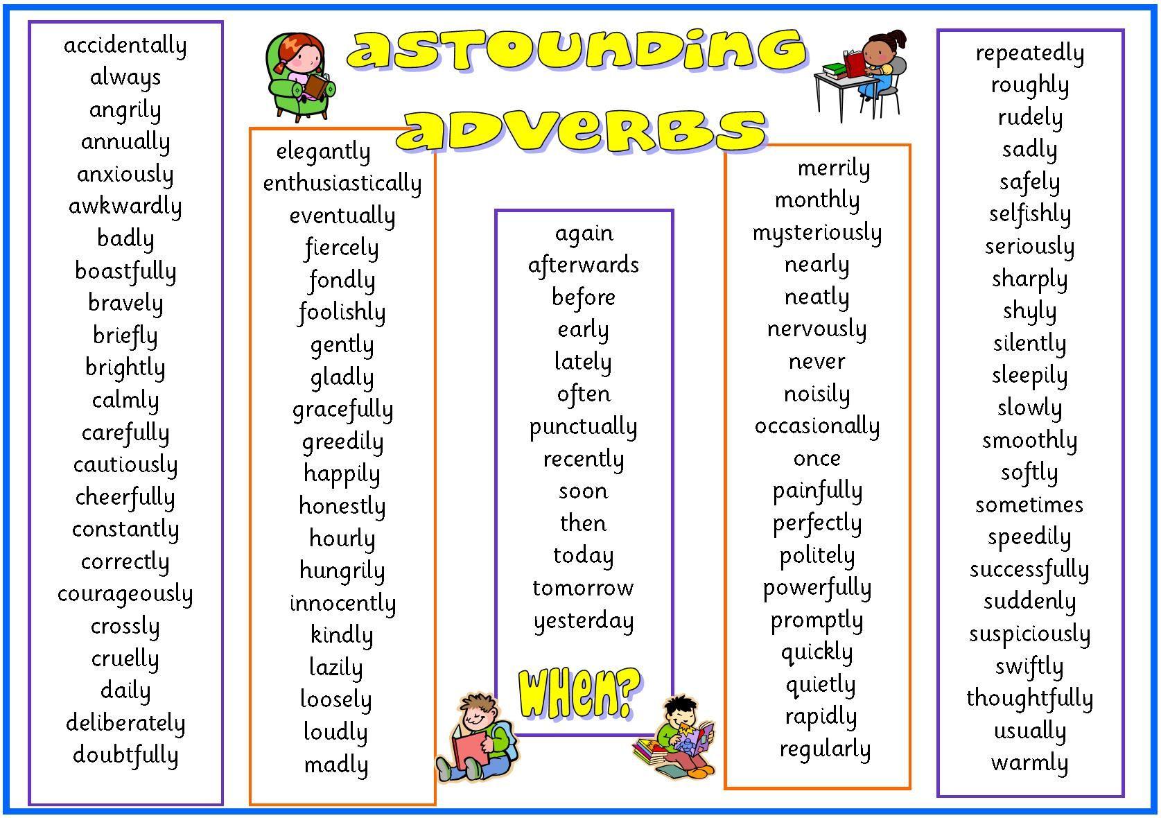 Adverbs Astounding Adverbs Help Mat