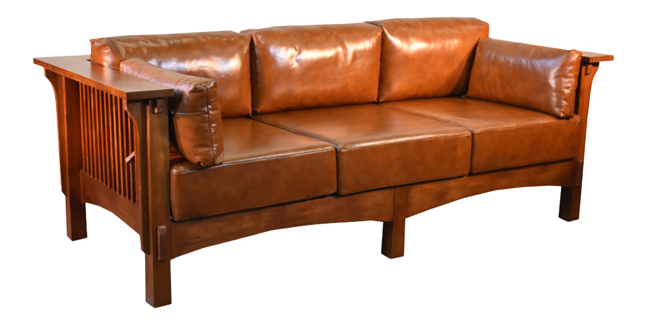 Crafters And Weavers Arts And Crafts Craftsman Crofter Style Sofa Russet Brown Leather Rb1 In 2020 Quarter Sawn White Oak Oak Sofa Mission Furniture