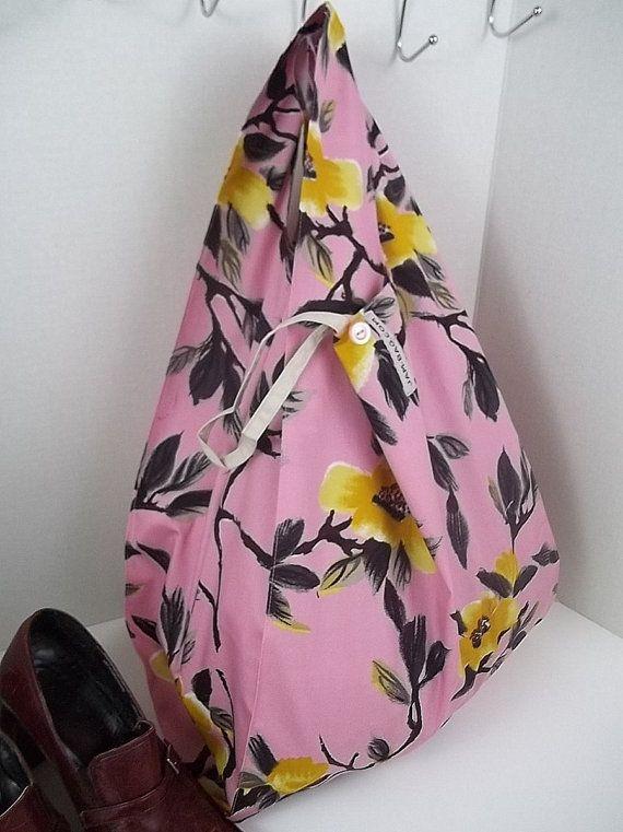 Reusable Grocery Bag // Tsubaki Flower Print with belt and button | reusable bag, reusable shopping bag, washable and durable, shopping bag