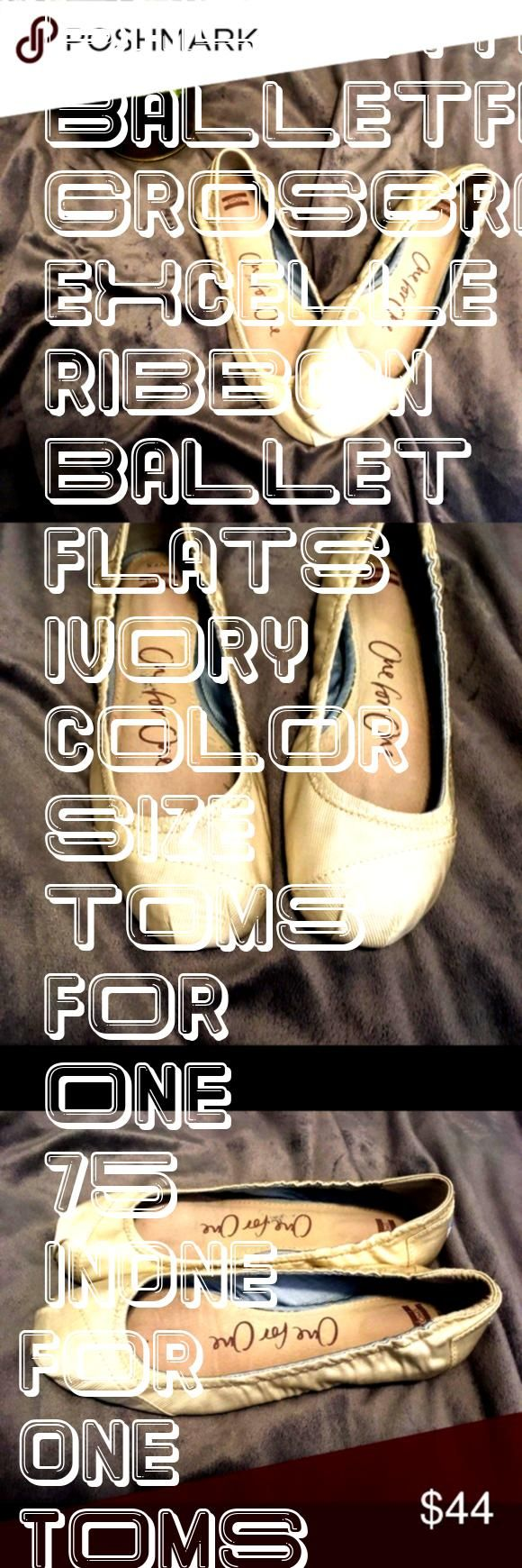 for One Toms Grosgrain Ribbon ballet flats Ivory in color size 75 excelle  One for One Toms Grosgrain Ribbon ballet flats Ivory in color size 75 excelle   Metallic gold s...