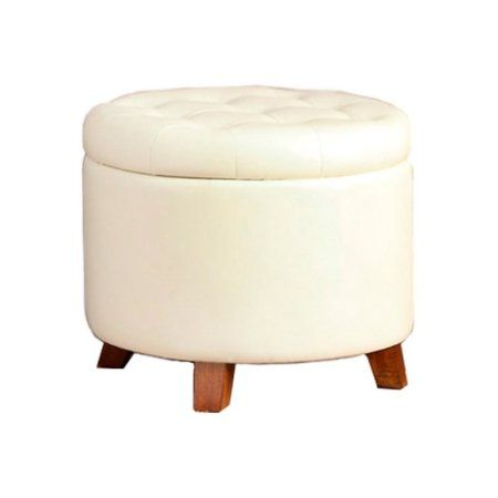 Swell Poundex Round Faux Leather Storage Ottoman In Black Andrewgaddart Wooden Chair Designs For Living Room Andrewgaddartcom