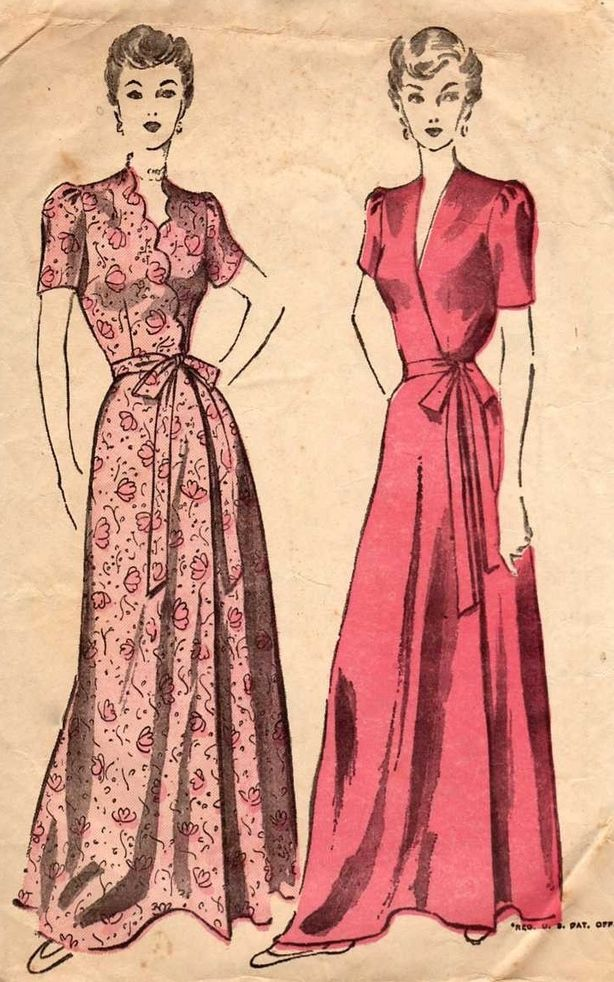 Pin By 1930s 1940s Women S Fashion On 1940s Dressing Gowns Vintage Clothes Patterns Vintage Dress Patterns Vintage Sewing Patterns