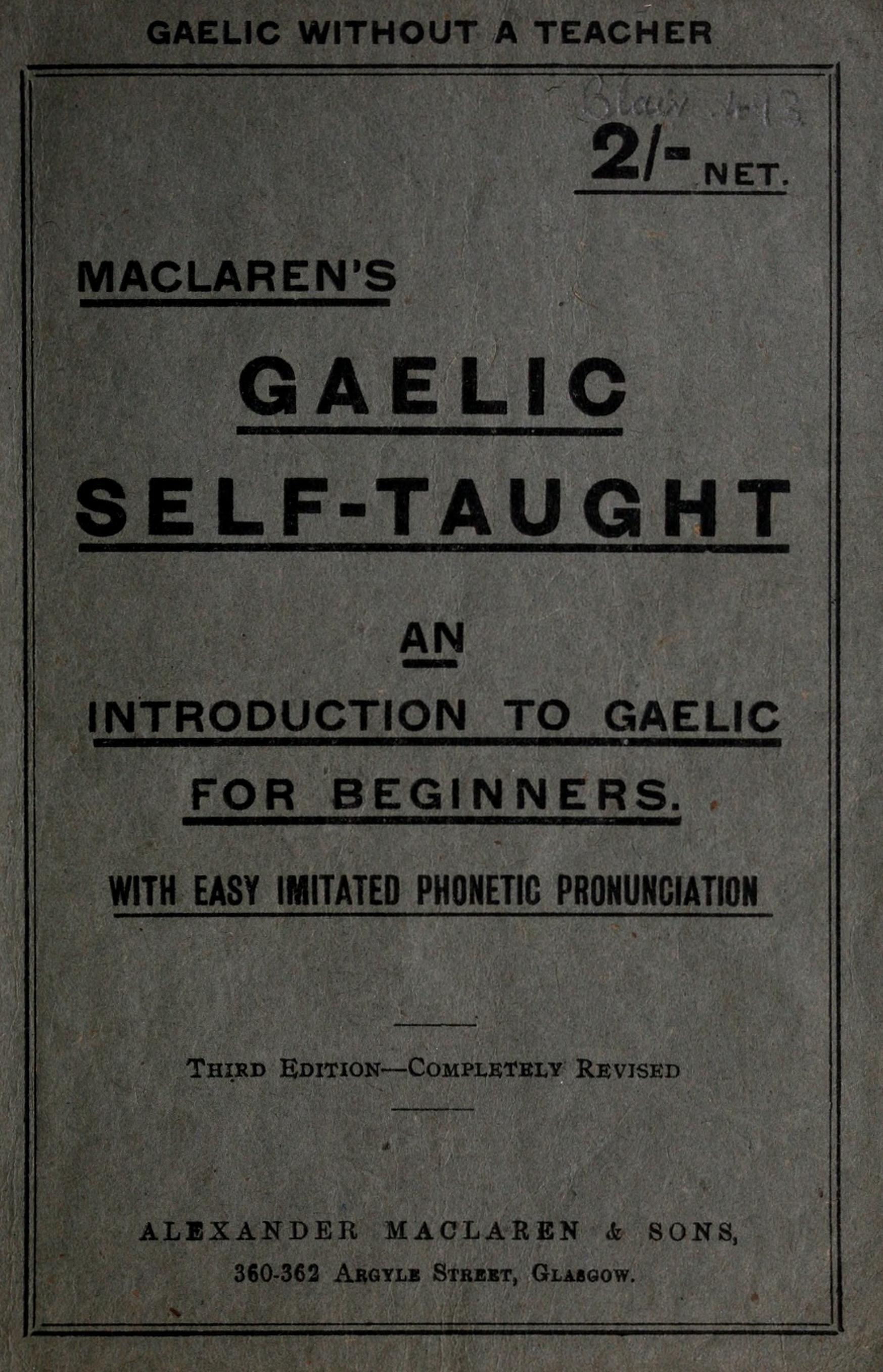 Maclaren S Gaelic Self Taught Maclaren James Free
