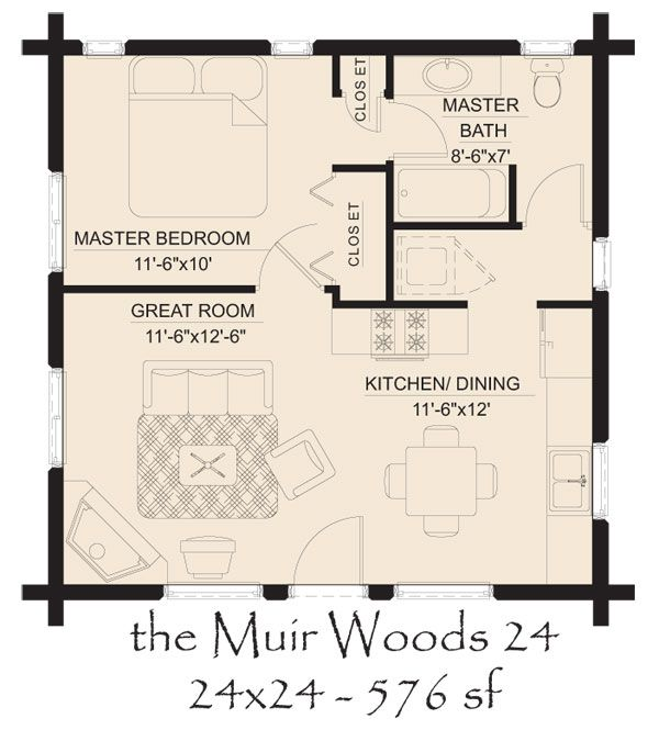 Muir woods 24 log home floor 600 665 pixels for 24 x 24 apartment layout