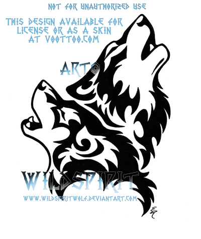 Howling Tribal Wolf Pair By Wildspiritwolf On Deviantart Tribal Wolf Tribal Wolf Tattoo Wolf Howling