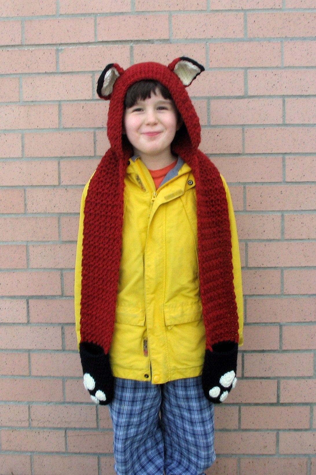 Fox Scoodie with Pockets Pattern (Knit) - Lion Brand Yarn | čepičky ...