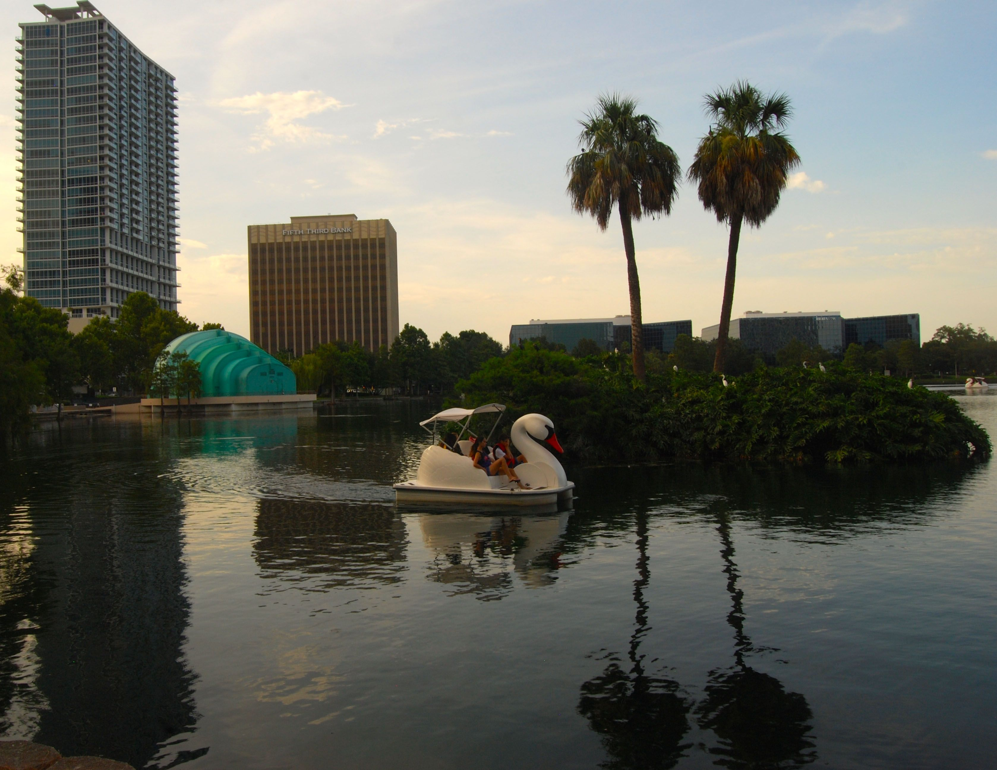 A ride on a swanshaped paddle boat is a great way to
