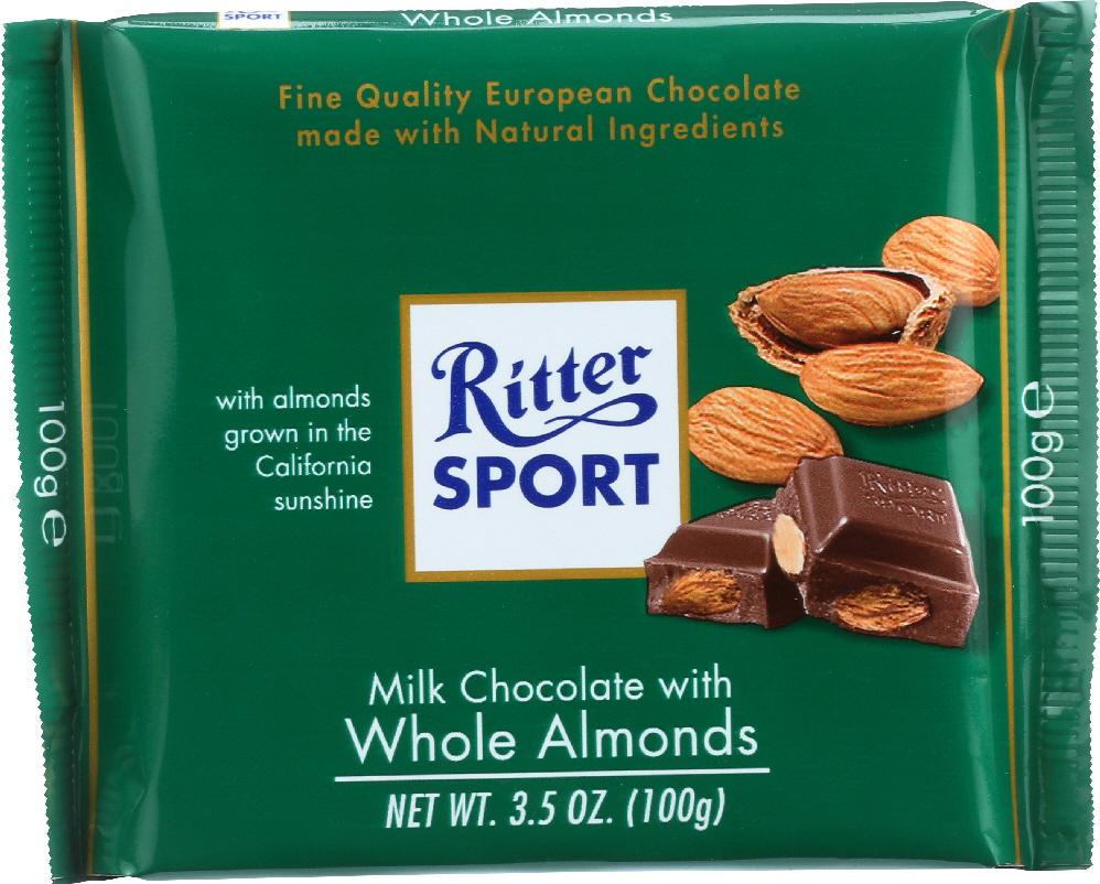 RITTER SPORT Milk Chocolate with Whole Almonds, 3.5 oz