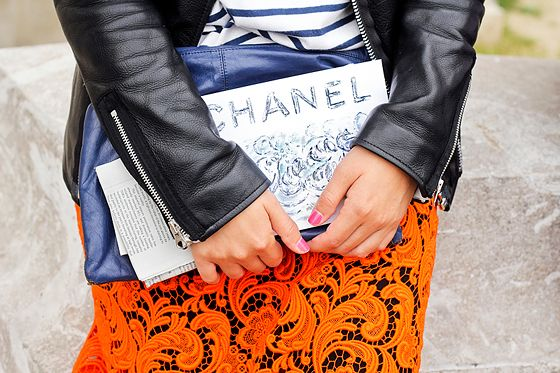 navy stripes + orange lace.