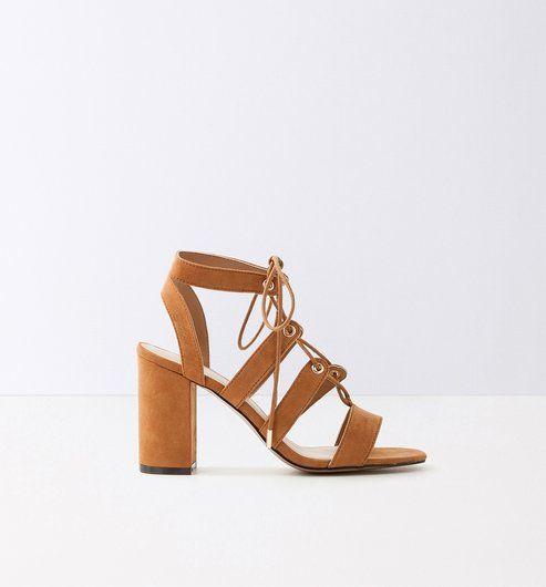 56fb0df5b230ae High-heeled sandals caramel - Promod