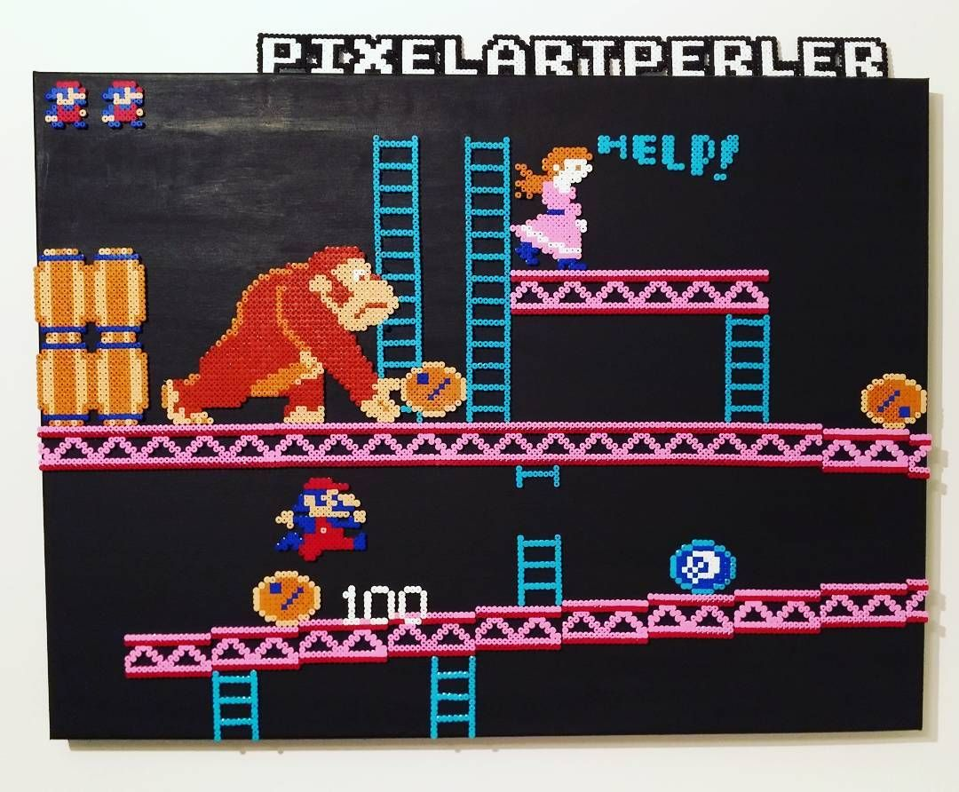 "Gefällt 3 Mal, 1 Kommentare - Nik F (@pixelartperler) auf Instagram: ""Donkey Kong NES - Perler Beads (Hama) on painted canvas #games #retro #holiday #artofvisuals #art…"""
