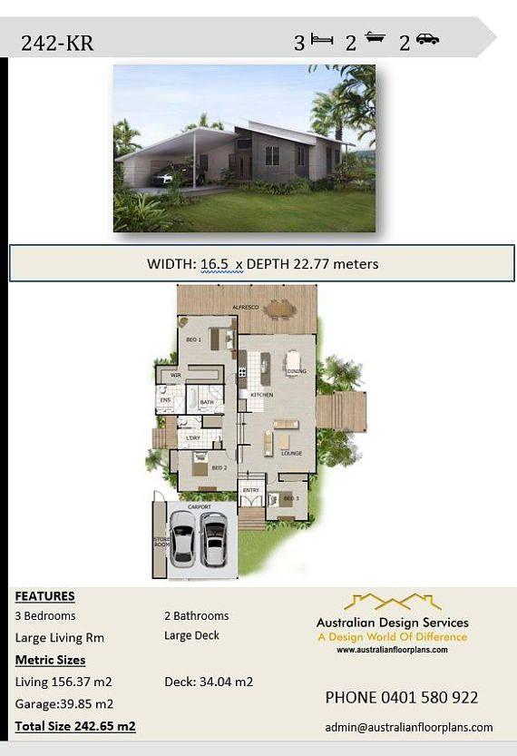 Modern 3 Bedroom Design 242 M2 House Concept Plans For Sale Etsy Beach House Plans House Plans Australia Dream House Plans