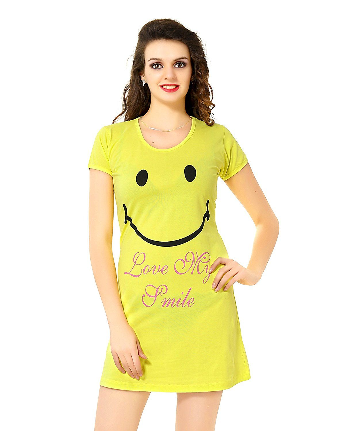 949327c02c AV2 Women Yellow Cotton Cute Short Night dress Colour   Yellow colour  Material  Cotton Soft and Cozy Night wear Round neck