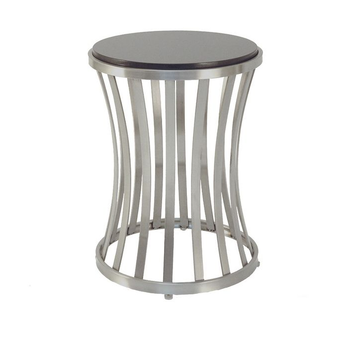 The Alex End Table, finished in Satin Nickel Plated (base) and