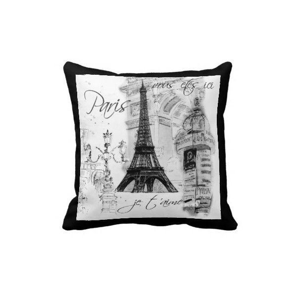 Marvelous Shop Paris Eiffel Tower Collage Black U0026 White Throw Pillow Created By  LapapeteriedeParis.