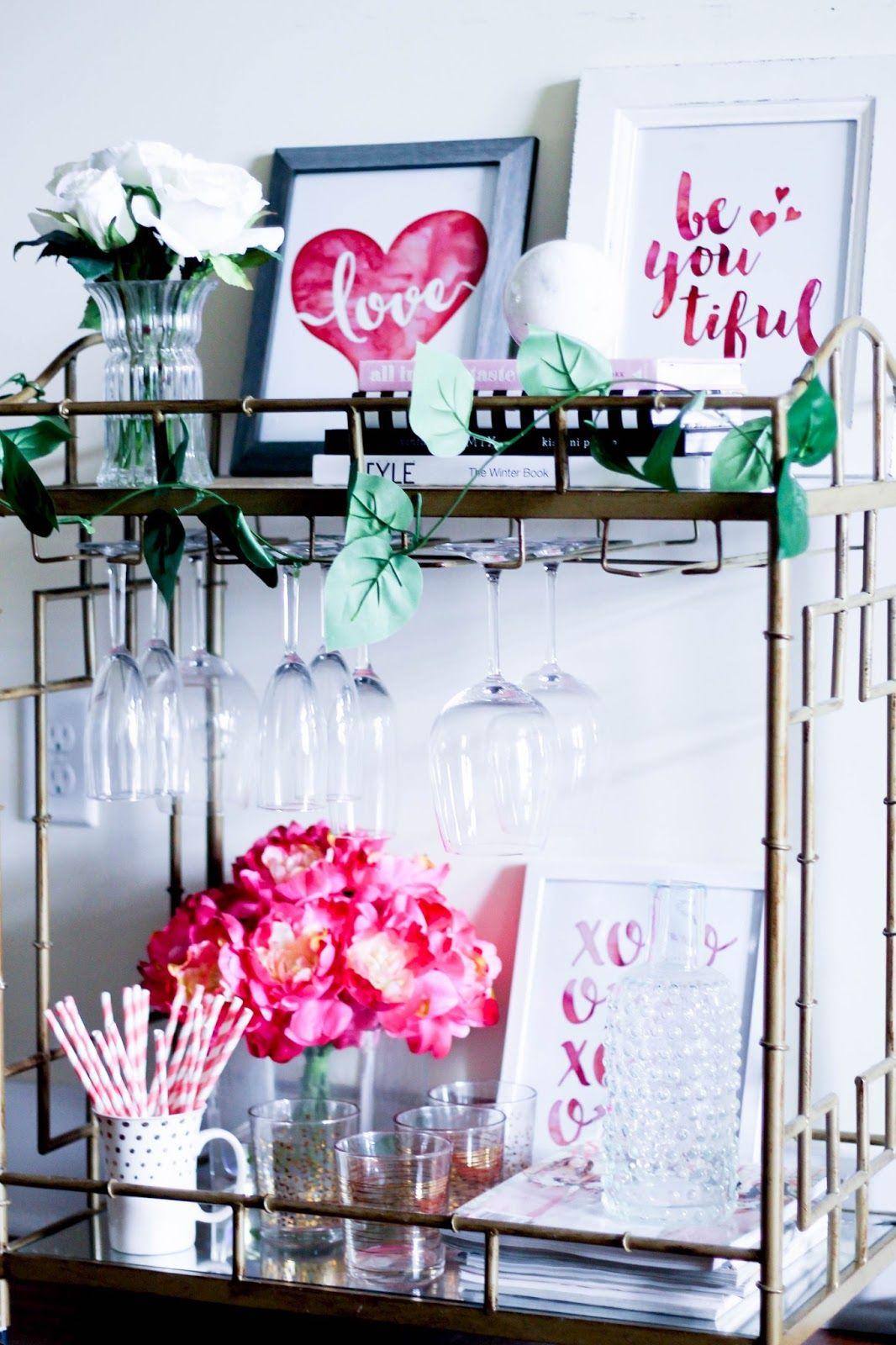 Valentine S Day Inspired Bar Cart Galentine S Party Decor Ideas