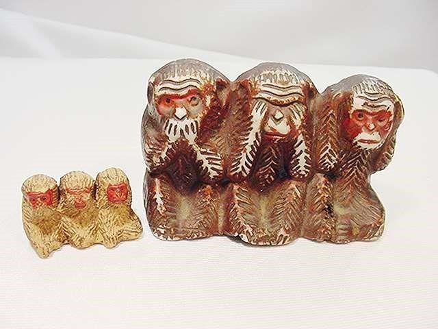 Lot of 2 Vintage Old Japan Monkeys Speak See Hear No Evil ~ Big and Little
