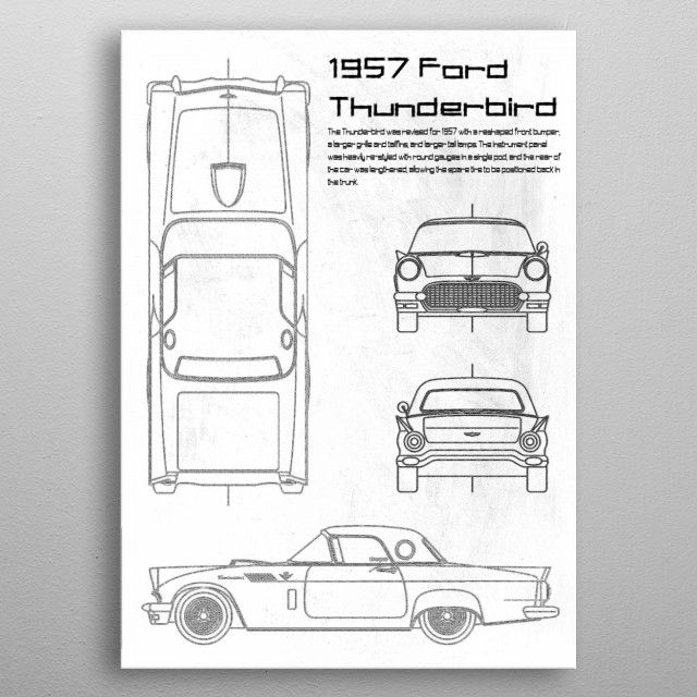 1957 Ford Thunderbird by FARKI15 DESIGN | metal posters - Displate | Displate thumbnail