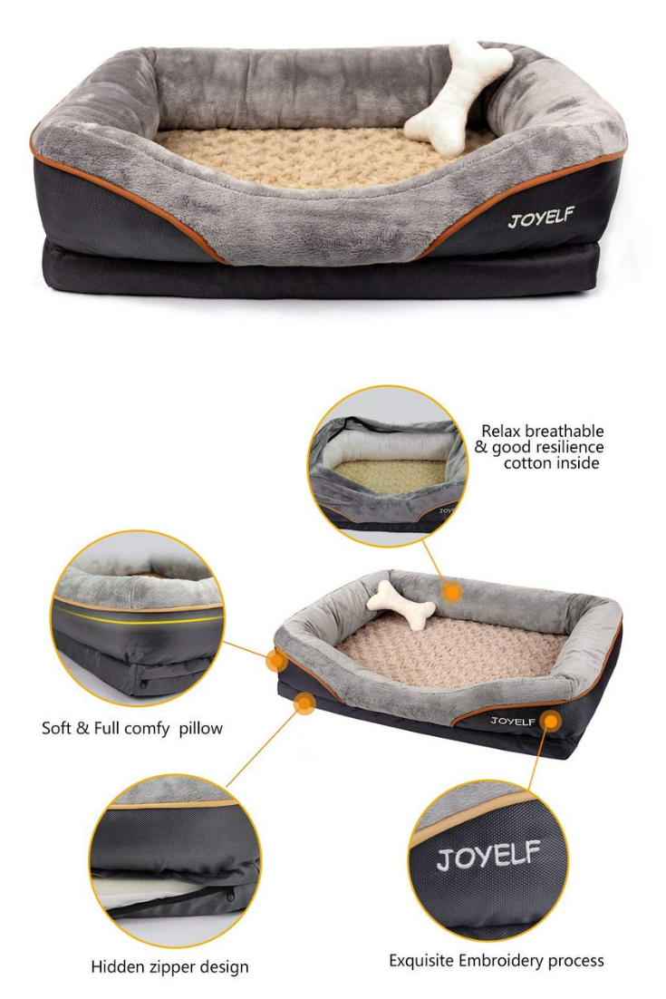 Joyelf Orthopedic Dog Bed Memory Foam Pet Bed With Removable Washable Cover And Squeaker Toy As Gift Dog Orthopedic Dog Bed Memory Foam Dog Bed Dog Crate Mats