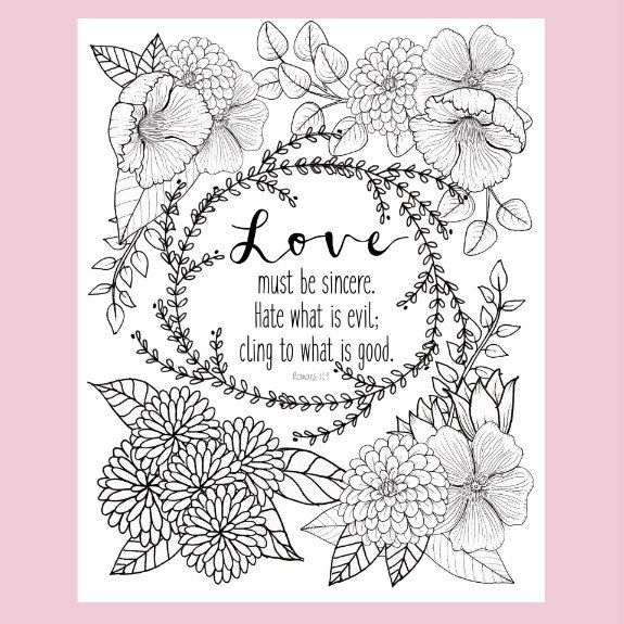 Romans 12 9 Coloring Page Love Coloring Page Christian Coloring
