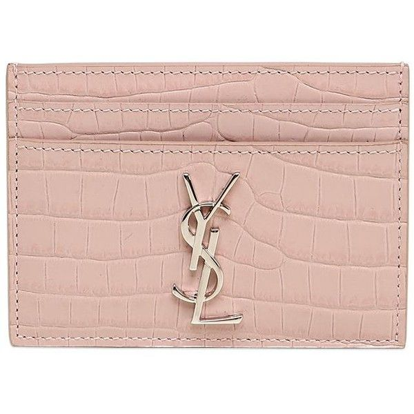 Saint Laurent Women Croc Embossed Monogram Card Holder (2 410 SEK) ❤ liked  on Polyvore featuring bags facbee9775