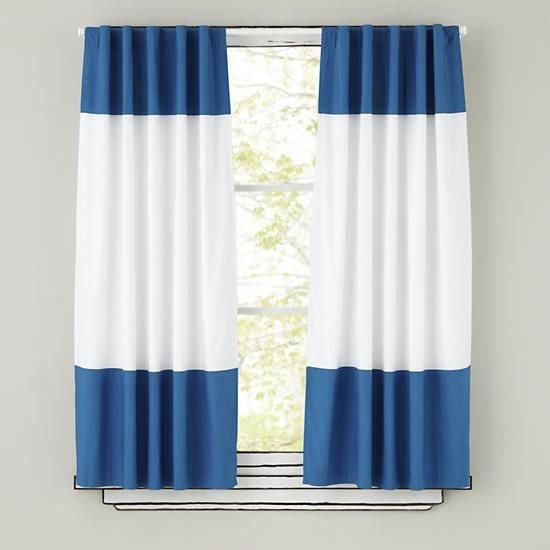 The Land Of Nod | Kids Curtains: Blue And White Curtain Panels In Curtains  U0026 Hardwares