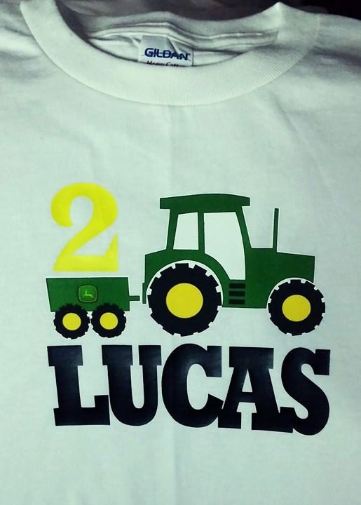 John Deere Tractor Birthday Shirt Personalize it completely to the birthday boy/girl with their name and age. You can even change the colors if you wish. Please include NAME of child and AGE turning at checkout in the note to buyer section. ******************************************************************************************************************** As far as I know most of my shirts now are True to Size (TTS) I use mostly Childrens Place and Granimals Brand from Walmart. If you hav...