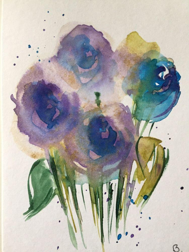 Original Aquarell Aquarellpostkarte Blaue Rosen Blumen Abstrakt