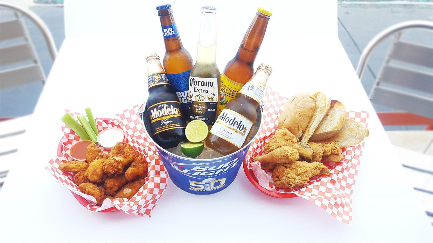 Grub on and cool off with our awesome food and a nice cold