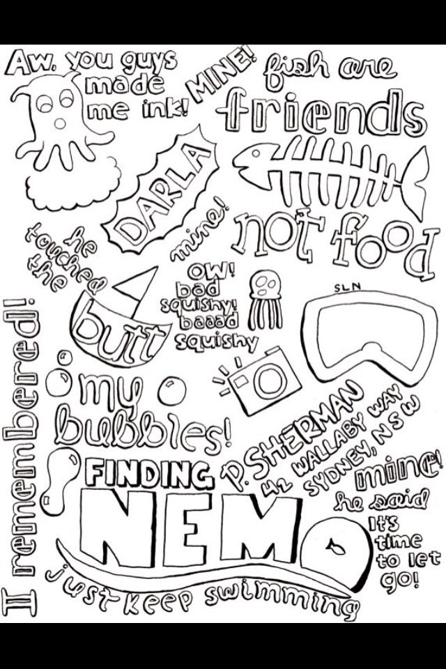 Finding Nemo Inspirational Quotes Coloring Disney Quotes Nemo Quotes